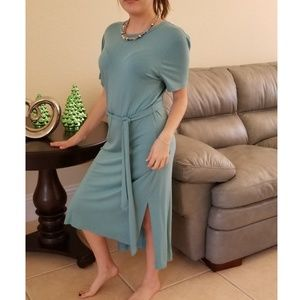 Dresses & Skirts - LIGHT TEAL ROUND NECK HIGH SLIT T-SHIRT DRESS
